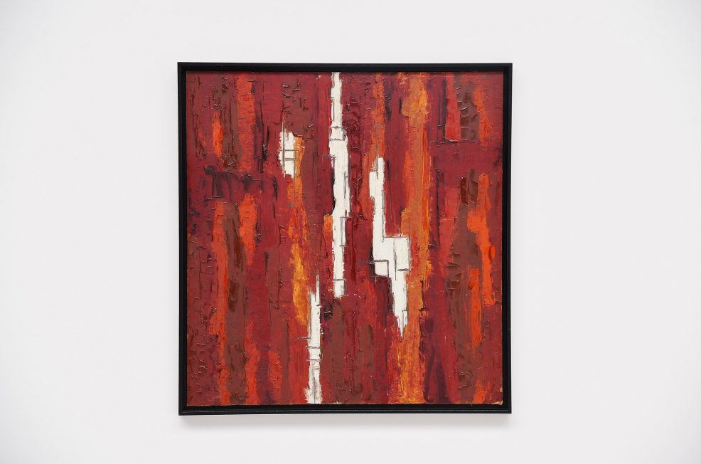 Rudolf Wolf red abstract modern painting on board 1961