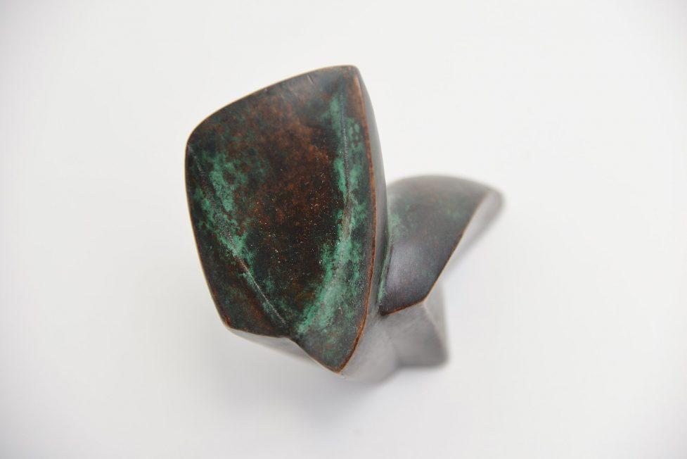 Bronze abstract modern cat sculpture Holland 1980