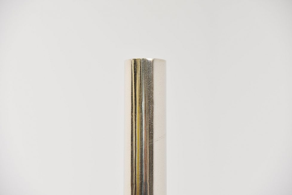 Rudolf Wolf abstract brushed steel pipe sculpture 1972