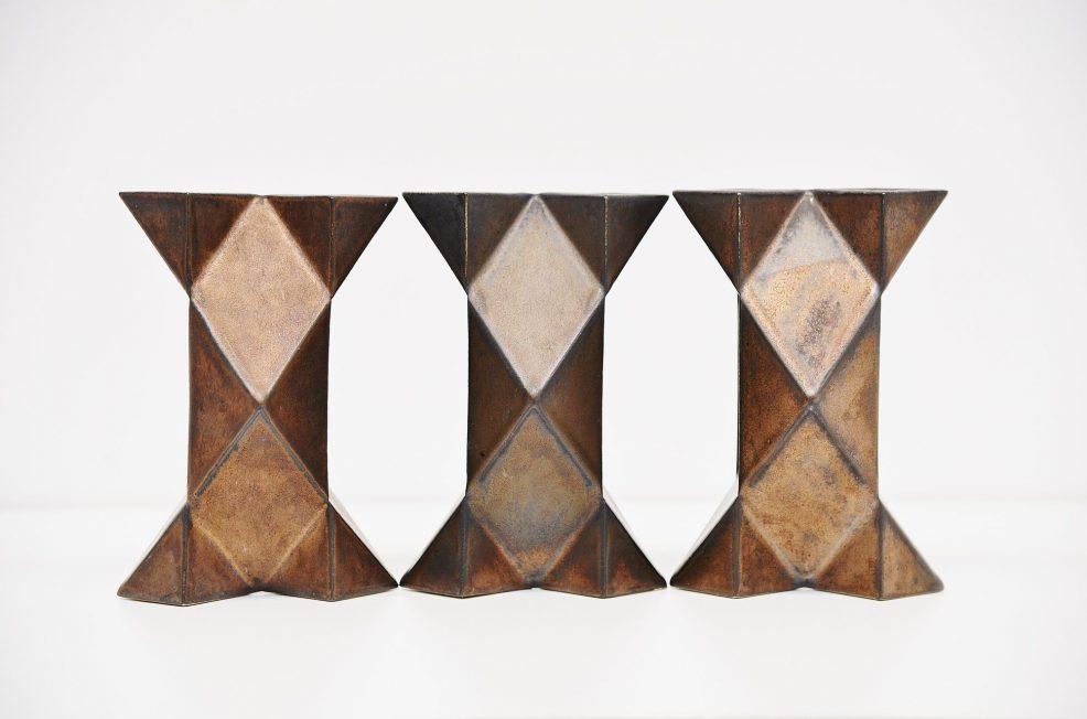 Jan van der Vaart bronze ceramic vase set 1973