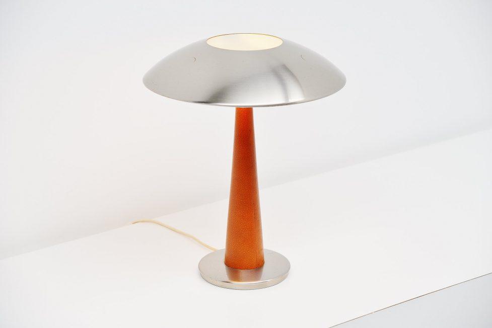 Stilnovo table lamp leather model 8041, Italy 1960
