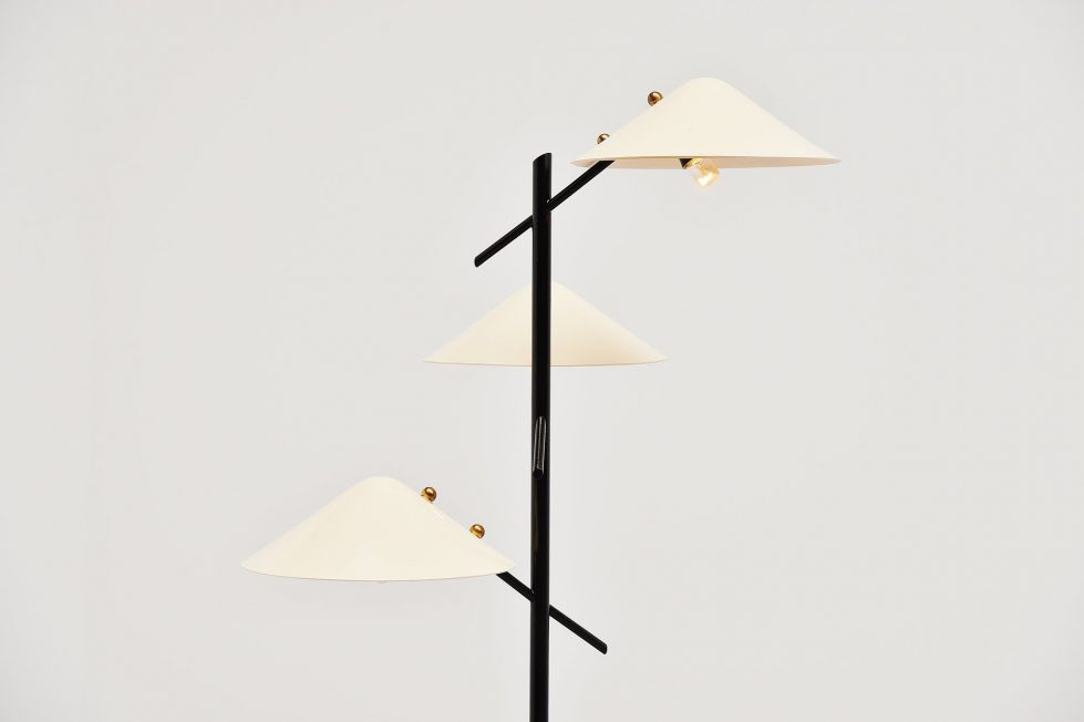 Stilnovo floor lamp triple shades, Italy 1950