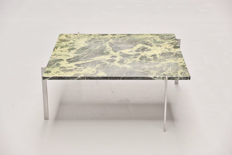 Poul Kjaerholm PK61 table green marble top E Kold Christensen Denmark 1956