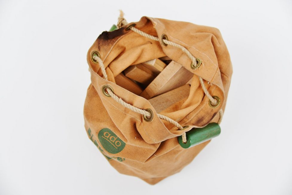 Ado marked Ko Verzuu toy bag with cubes 1950