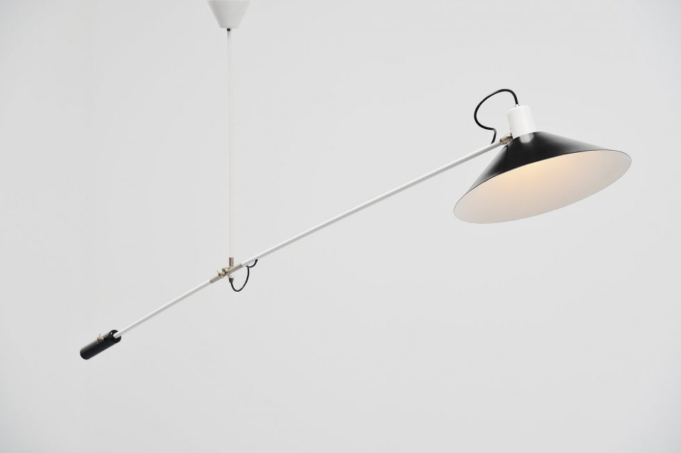 JJM Hoogervorst Anvia counter balance ceiling lamp Holland 1957