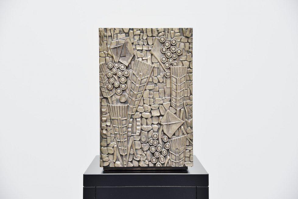 Sculptural metal weighted safe Belgium 1960