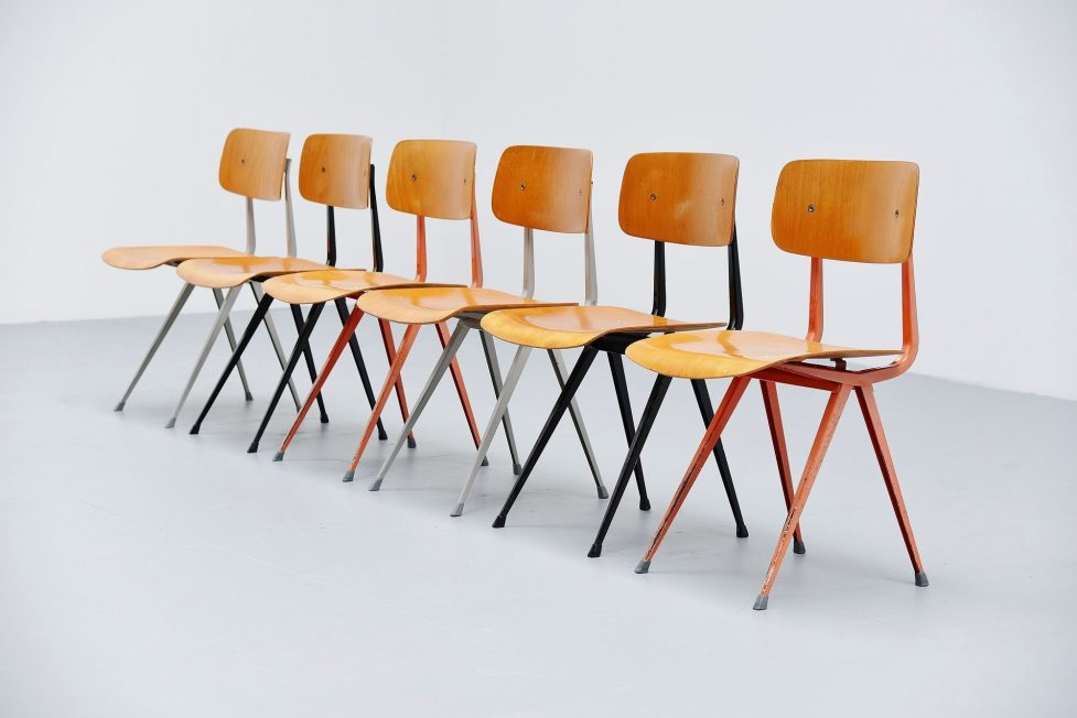 Friso Kramer Result chairs wood for Ahrend de Cirkel 1958