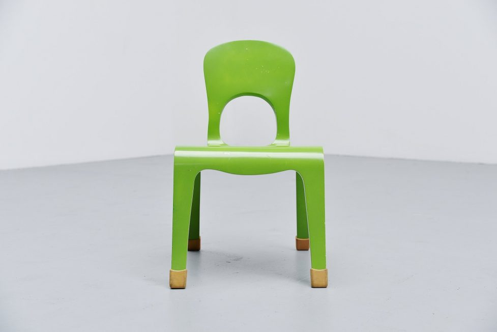 Modernist green plywood kids chair Holland 1960