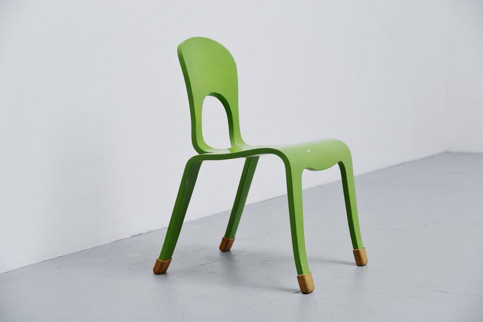 Modernist green plywood kids chair Holland 1960