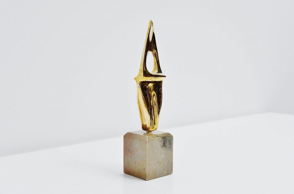 Hattakitkosol Somchai bronze abstract spine sculpture 1970