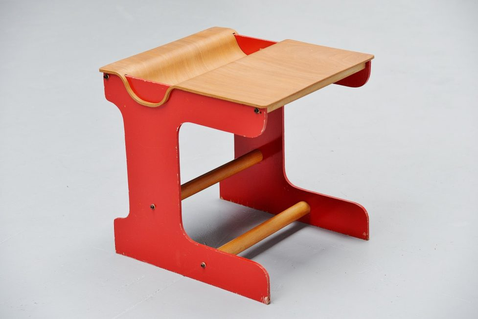 Plywood kids desk Holland 1960