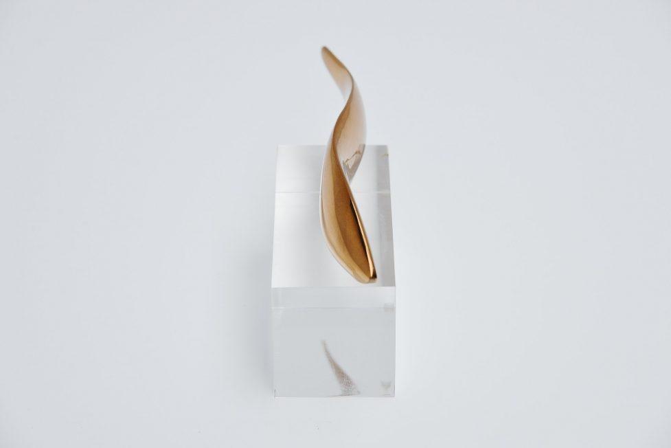 Bronze abstract fish shaped sculpture plexi base 1970
