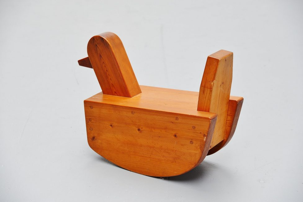 Rocking duck toy in solid pine Sweden 1960