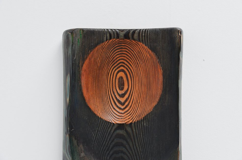 Wood artwork wall sculpture abstract ebonized wood 1970