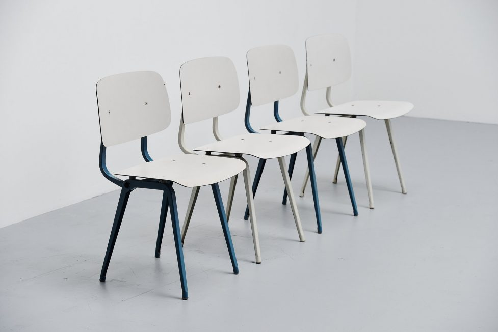 Friso Kramer Revolt chairs set 1953 Blue Grey White