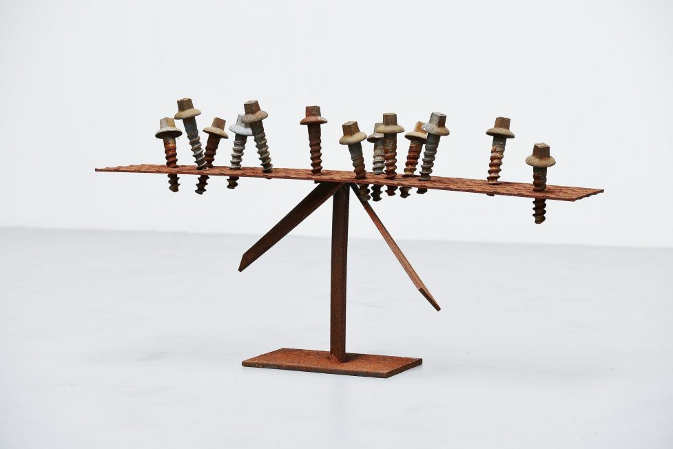 Theo Niermeijer abstract modern screws sculpture 1970