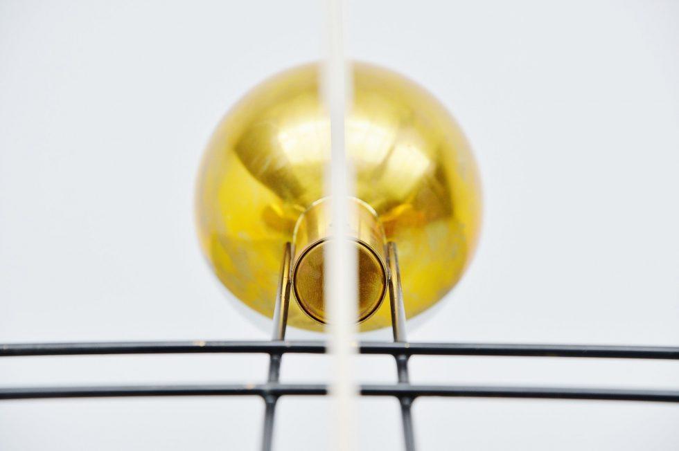 Stilnovo chandelier brass and glass, Italy 1960