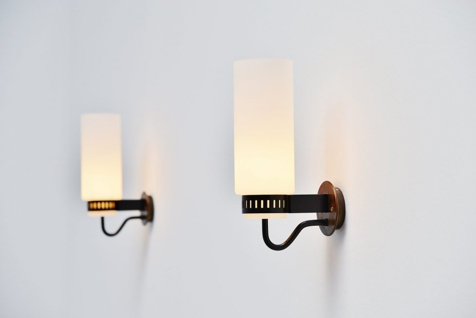 Stilnovo pair sconces brass and glass Italy 1960