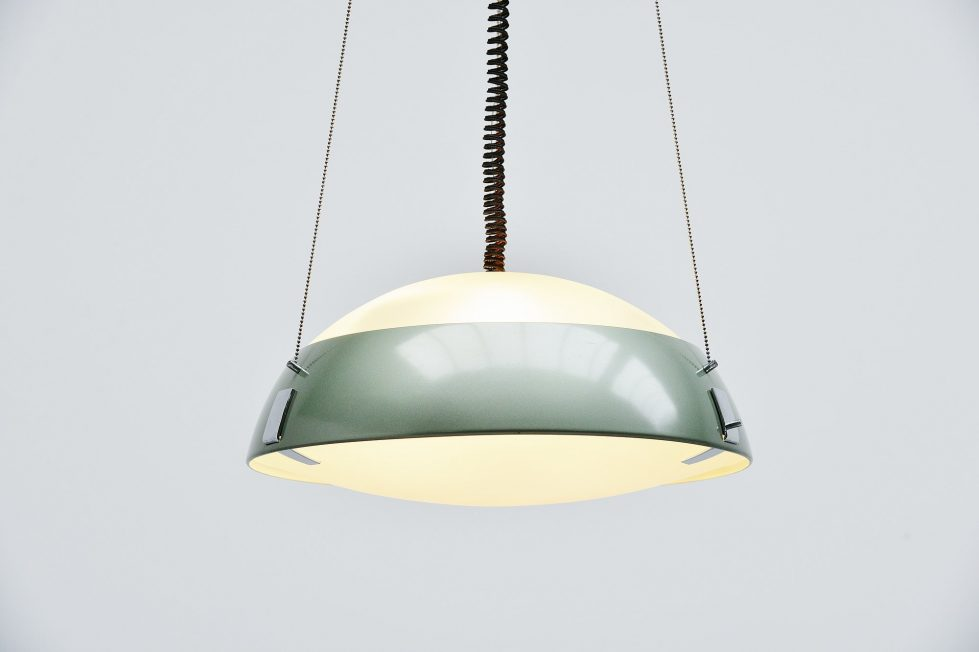 Stilnovo pendant lamp chrome and glass, Italy 1965