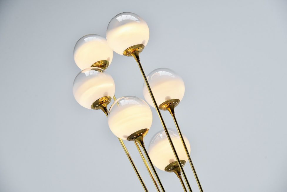 Stilnovo Alberello floor lamp marble brass glass, Italy 1960