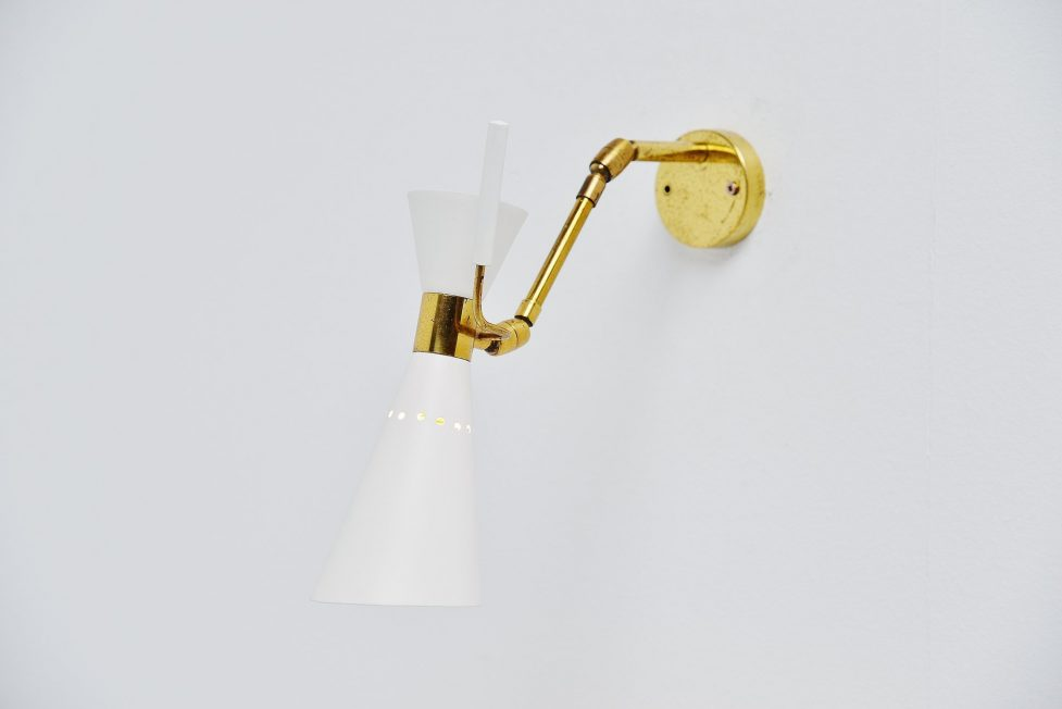 Stilnovo diabolo wall lamp adjustable sconce Italy 1950