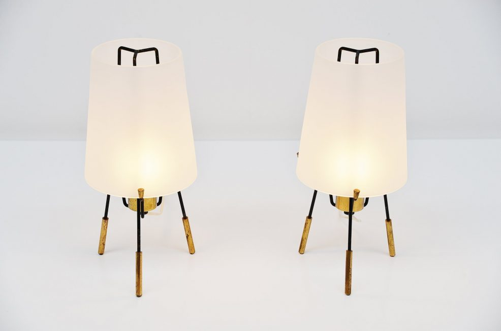 Stilnovo table lamp pair glass and brass, Italy 1950
