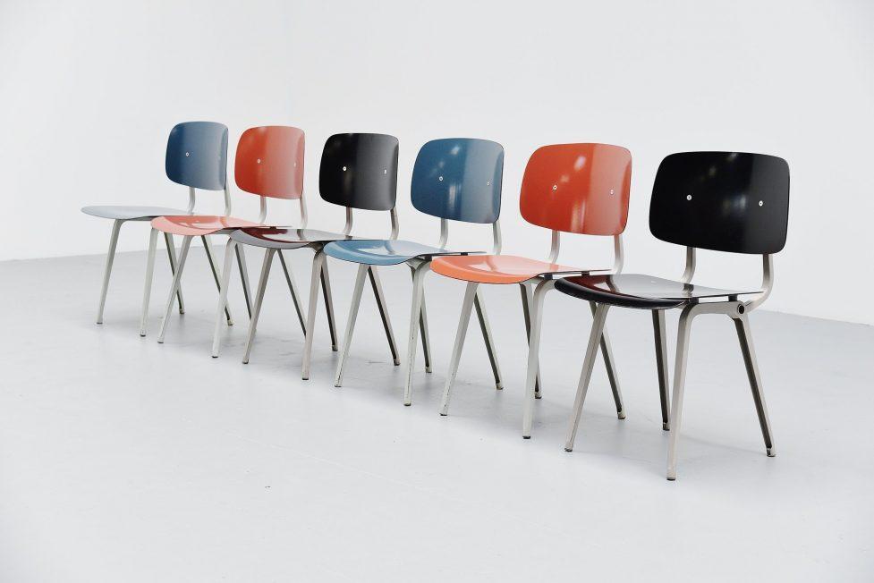 Friso Kramer Revolt chairs set 1953 black blue liver colors