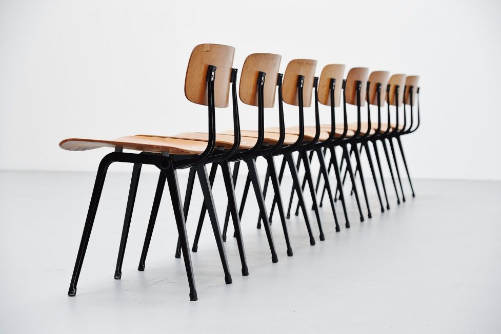 Friso Kramer Revolt chairs wood for Ahrend de Cirkel 1963