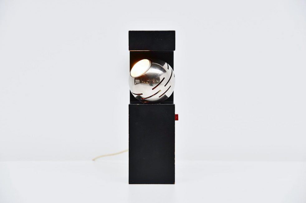 Angelo Lelli Arredoluce eye spot table lamp Italy 1960