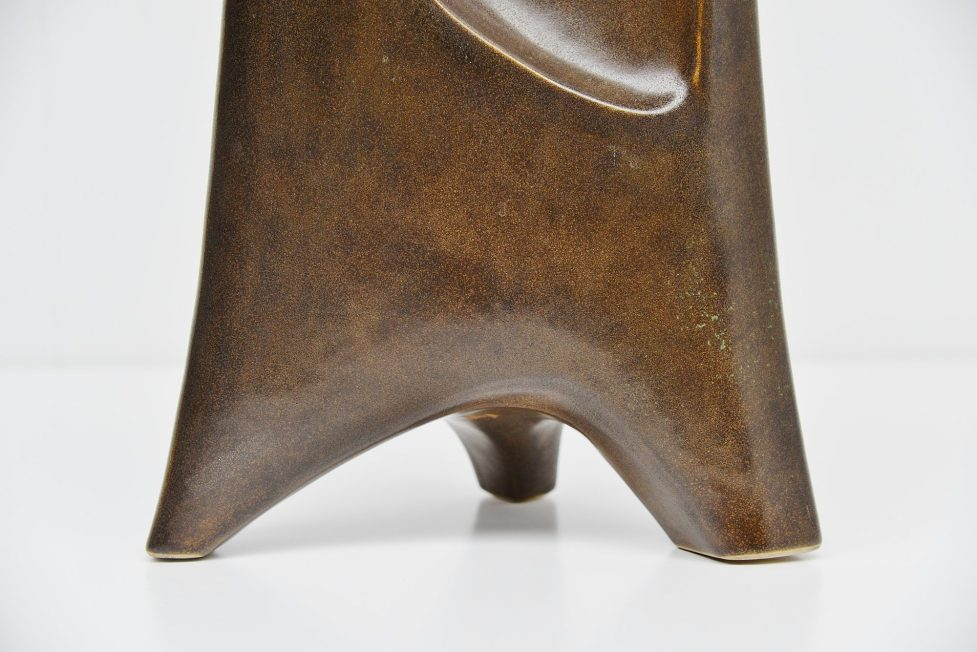 Unknown sculptural bronze glazed ceramic vase Belgium 1965