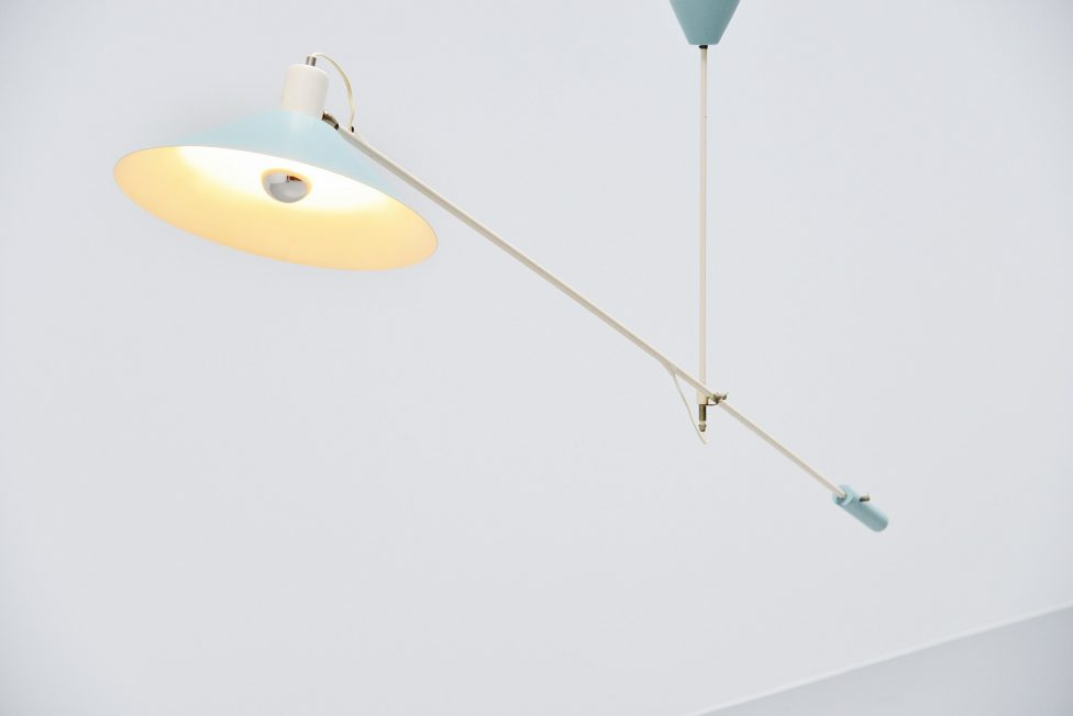 JJM Hoogervorst Anvia counter balance ceiling lamp Holland 1955