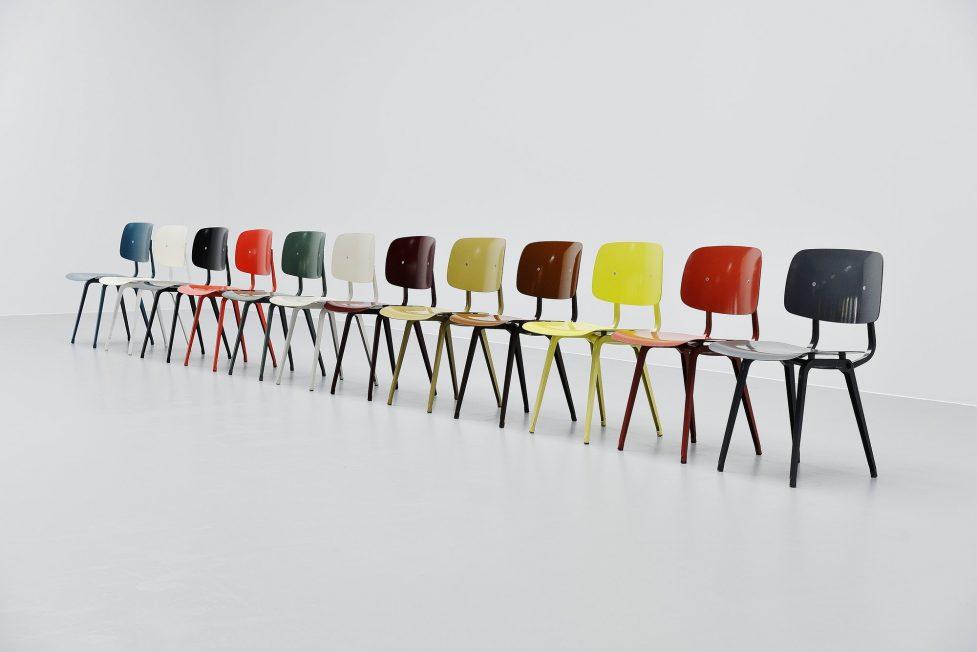 Friso Kramer unicolor Revolt chairs set Ahrend de Cirkel 1953